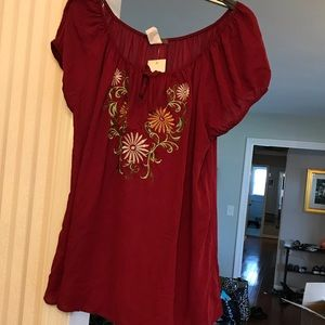 3x peasant top new with tags embroidered maroon